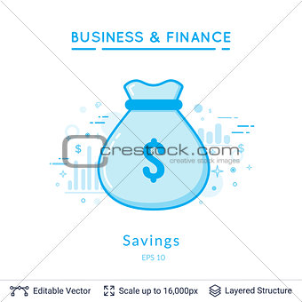 Money bag savings symbol on white.