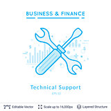 Technical support symbol on white.