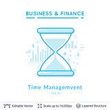 Sand clock time management symbol on white.