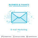 Email marketing symbol on white.