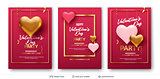 3D hearts and luxurious golden frame on pink.