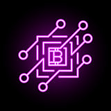 Blockchain vector concept icon or design element in neon style.