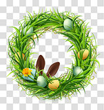 Easter wreath of green grass with eggs and rabbit ears