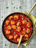 rustic italian meatball in tomato sauce