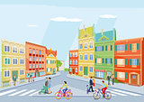 small city with pedestrians and cycling, illustration