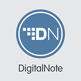 Digitalnote Cryptocurrency - Vector Colored Logo.