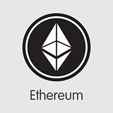 Ethereum Cryptocurrency - Vector Colored Logo.