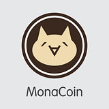 Monacoin - Cryptocurrency Colored Logo.
