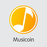 Musicoin Cryptographic Currency - Vector Icon.