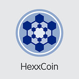 Hexxcoin Digital Currency. Vector HXX Coin Pictogram.