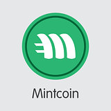 Mintcoin Blockchain Cryptocurrency. Vector MINT Coin Symbol.