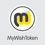 Mywishtoken Cryptocurrency. Vector WISH Pictogram Symbol.