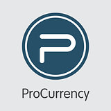 Procurrency Blockchain Cryptocurrency. Vector PROC Element.