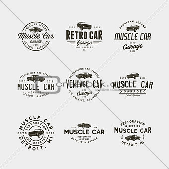 set of vintage muscle car garage logos. vector illustration