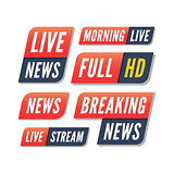 set of tv banners. breaking live news logos