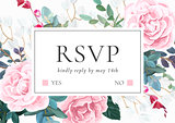 Floral wedding invitation with pink roses. Botanical RSVP card template. Hant drawn vector illustration.