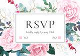 Floral wedding invitation with pink roses. Botanical RSVP card template. Hant drawn vector illustration.