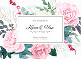 Floral wedding invitation design with pale pink roses on the white background. Romantic vector design.