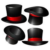 Set of black magician cylinder hats
