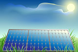 Solar battery power, green grass, blue sky and bright sun