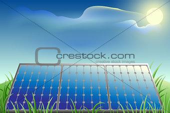 Solar battery power, green grass, blue sky and bright sun