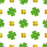 Pattern with green and golden clover