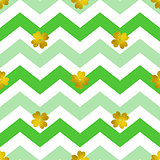 Pattern with green lines and golden clover