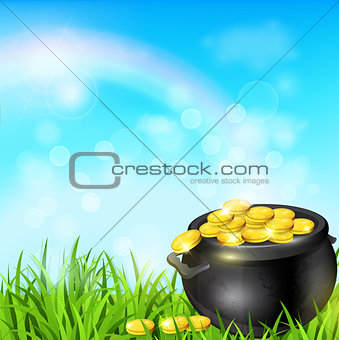Pot of gold in a green grass