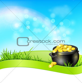 Pot of gold on a blue sky background