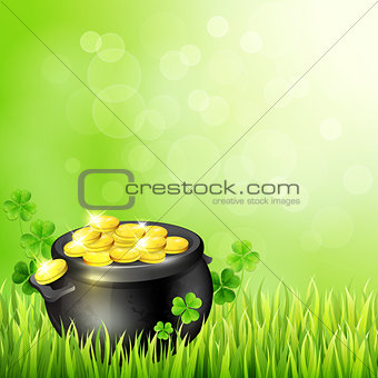 Pot of gold on a green background