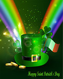 St Patricks day green hat with rainbow