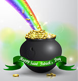 St Patricks day green pot with rainbow