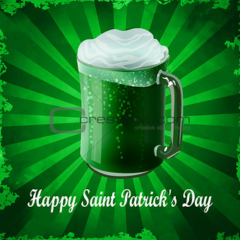 Green beer in mug vector