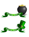 St.Patrick s Day banner set with pot and gold eprechaun hat