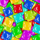 Multicolored condoms, top view