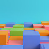 Colorfull boxes on bright blue background in pastel colors. Mini