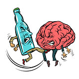 Alcoholism destroys the brain, drunk. fight bottle of vodka