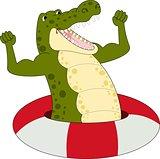 illustration of Cartoon strong crocodile vector