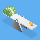 Bitcoin and dollars stack on scales. Business concept. Isometric vector illustration