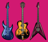 vector set of color electric guitars for poster design