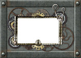 Grunge background with metallic frame