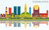 Casablanca Morocco City Skyline with Color Buildings, Blue Sky a