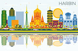 Harbin China Skyline with Color Buildings, Blue Sky and Reflecti