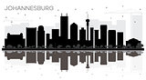 Johannesburg South Africa City skyline black and white silhouett