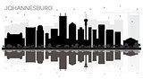 Johannesburg South Africa City skyline black and white silhouett