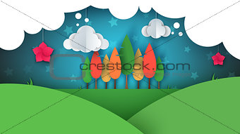 Paper cartoon ladnscape. Tree, flower, hill, cloud, star.