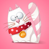 Funny, cute, crazy cartoon cat.