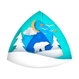Polar bear. Cartoon bear illustration. Moon, cloud, star, bird, fir.
