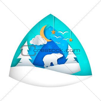Polar bear. Cartoon bear illustration. Moon, cloud, star, bird, fir.
