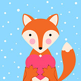 Cartoon valentine day illustration- funny, cute fox. Heard icon.